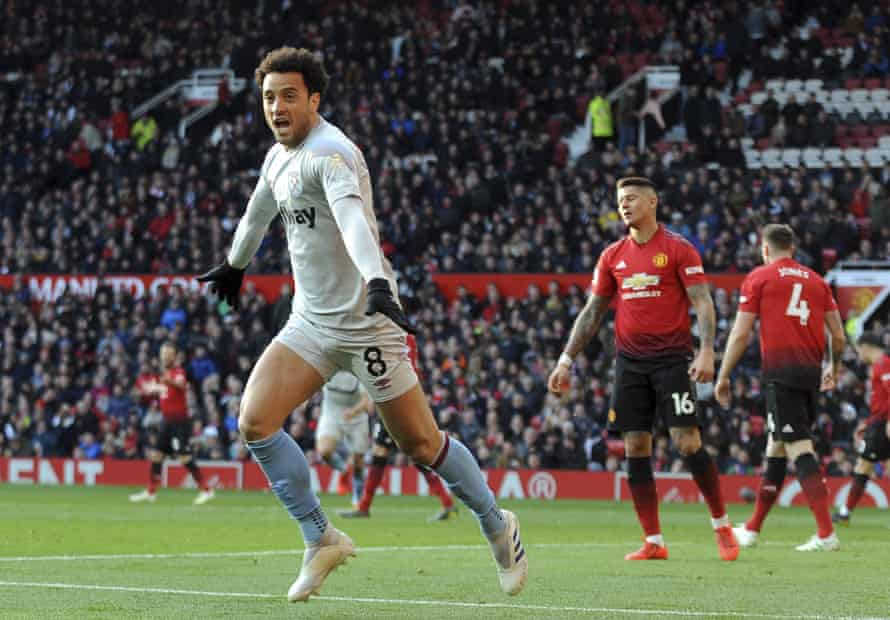 Felipe Anderson celebrates after scoring for West Ham during their recent, narrow defeat away to Manchester United