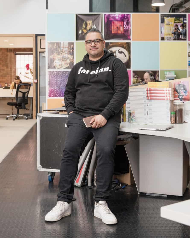 Nikesh Shukla in his shared office in Bristol.