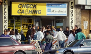 People in line for food stamps, Los Angeles,