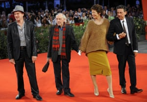(From L) Actor Jacques Bonnaffe, Jacques Rivette, Jane Birkin and actor Sergio Castellitto at the Venice film festival