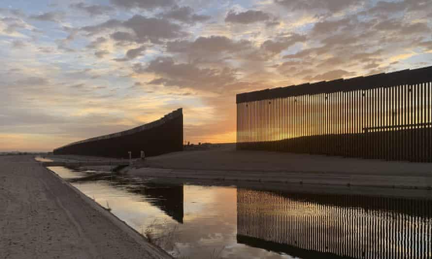 The US-Mexico border wall, seen in Yuma, Arizona.