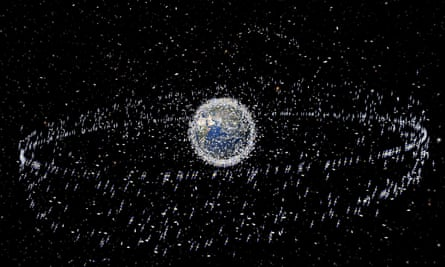 An artist's impression from 2008 of the space debris in orbit around Earth.