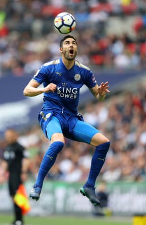 Leicester City's Vicente Iborra rises to meet the ball during the 5-4 thriller as Tottenham beat Leicester 5-4 atWembley.