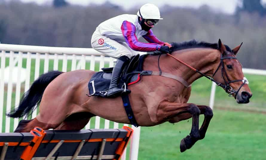 Harry Cobden rides Bravemansgame to victory at Newbury.