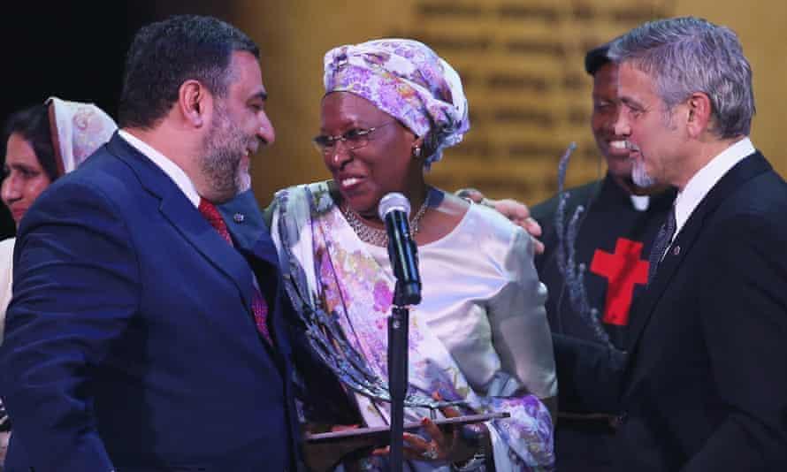 Ruben Vardanyan,  Marguerite Barankitse and George Clooney