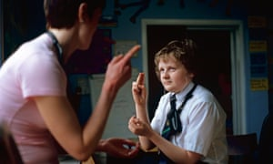 A deaf pupil with a specialist teacher