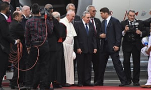 Pope Francis is welcomed by Cuban president Raúl Castro upon landing at Havana's international airport.