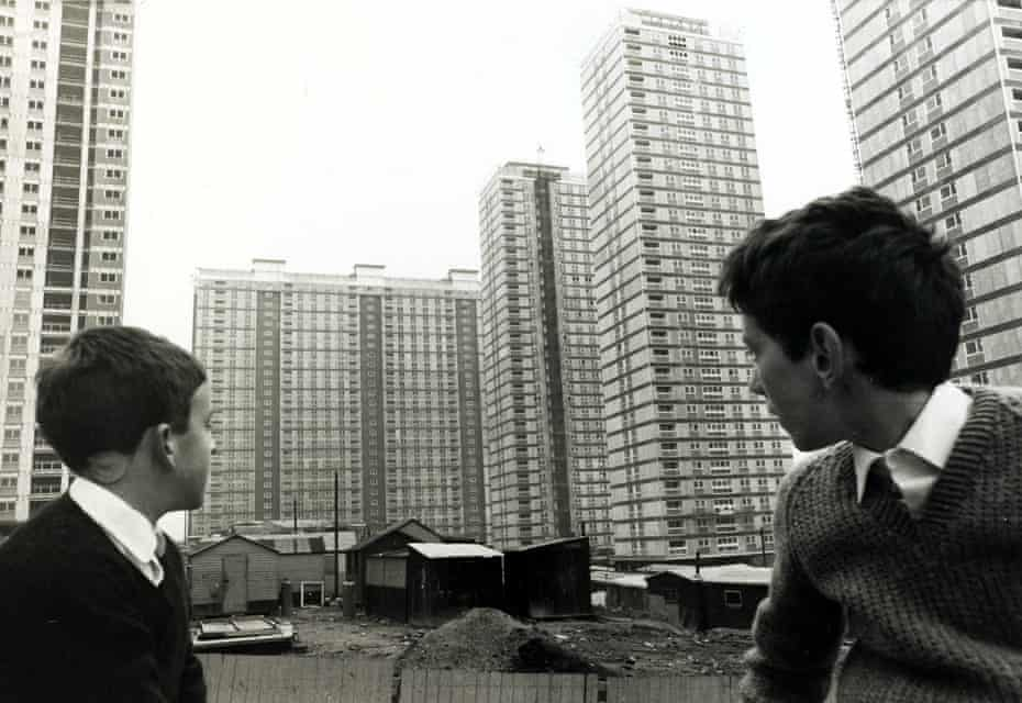 Two boys look at the newly constructed Red Road flats, then the highest in Europe, in November 1967.