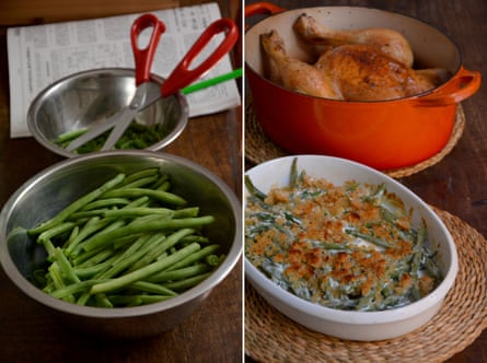 Rachel Roddy's green beans in cream and roast chicken.