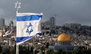 An Israel flag flying