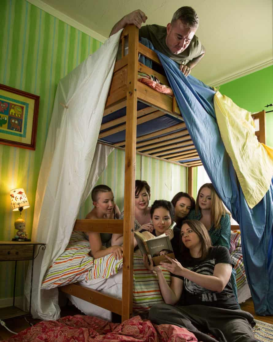 'We all fell straight into a typical sibling dynamic': (from left) Lesley, Rebekah, Mary, Meghan, Lisa and Becca with Jacob on the top bunk.