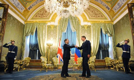 Prime minister David Cameron with Russian president Dmitry Medvedev in Moscow in 2011.