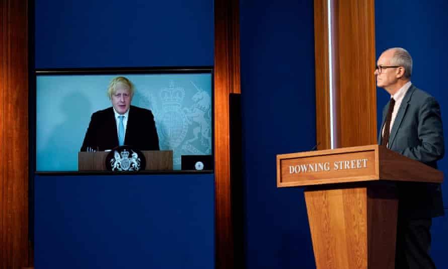 Boris Johnson remotely hosting a press conference with Patrick Vallance at No 10, 19 July 2021.