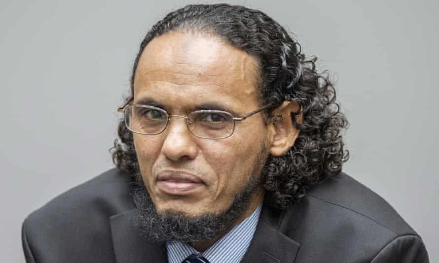 'I am sorry' … the suspected Islamist militant Ahmad al-Mahdi at the International Criminal Court in The Hague.