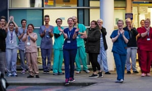 Staff from the Royal Liverpool University hospital join in the national applause during last Thursday's nationwide clap for carers.