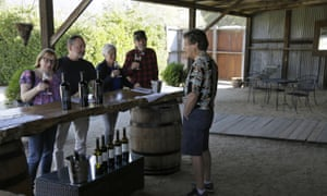 A tasting for a group of people visiting the Soda Rock Winery in Healdsburg, California in November 2019.