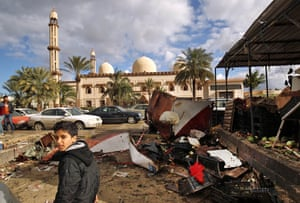 The aftermath of an explosion in Benghazi, Libya in January 2018.