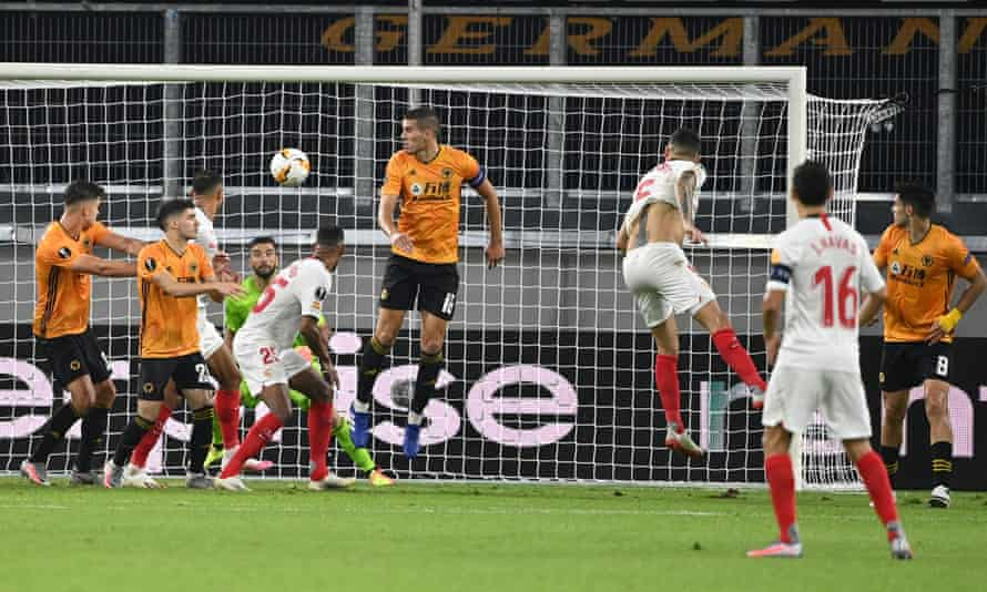 Sevilla's Lucas Ocampos (right) scores the only goal of the game from Ever Banega's cross.