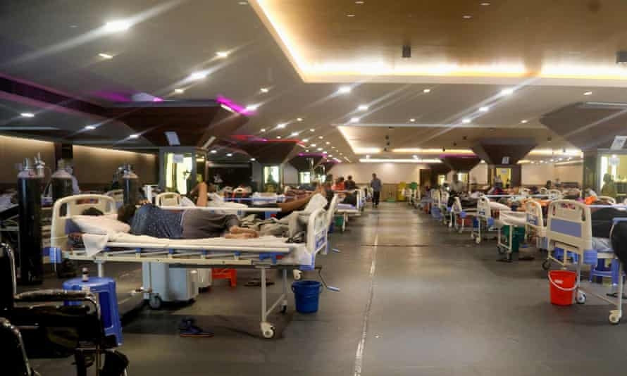 A banquet hall has been temporarily converted to a Covid19 ward for coronavirus patients in Delhi.