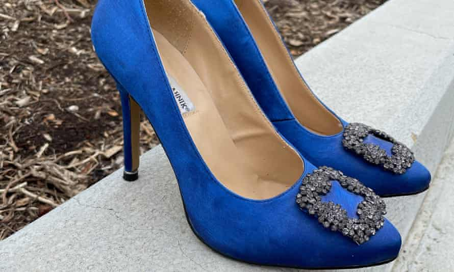 blue satin high heeled shoes