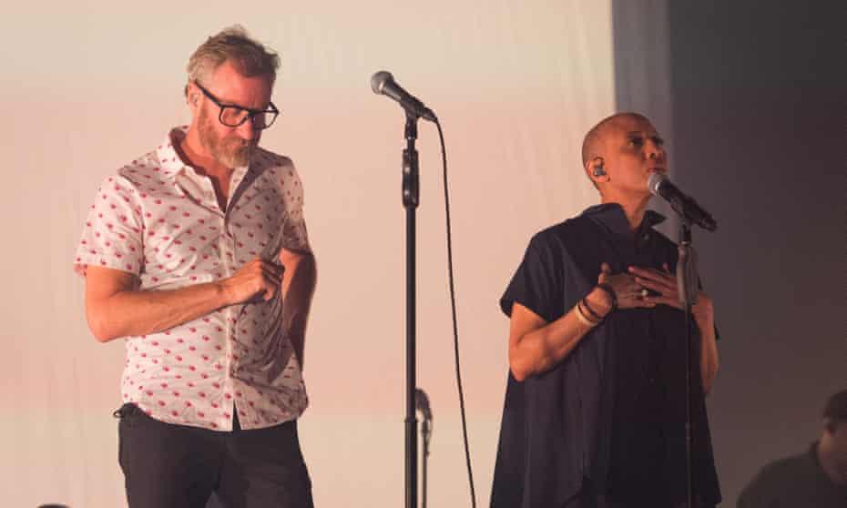 Matt Berninger onstage with Gail-Ann Dorsey in Paris.