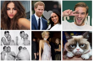 Clockwise from top left: Selena Gomez, Harry and Meghan, PewDiePie, Grumpy Cat, Paris Hilton in 2002 and Barack and Michelle Obama.