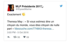 A Marine Le Pen supporter tweets in praise of Theresa May's speech