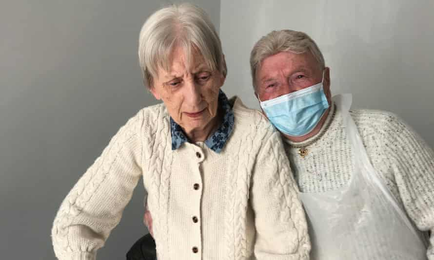 Brendan Black, 84, on his brief weekly visit to his wife, Joan, 83, who has dementia at a care home in Norfolk.