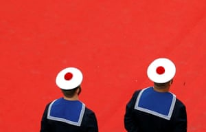 "70th Cannes Film Festival - Screening of the film ""L'Amant double"" (Amant Double) in competition - Red Carpet Arrivals - Cannes, France. 26/05/2017. Sailors of the French navy stand on the red carpet during arrivals. REUTERS/Regis Duvignau"