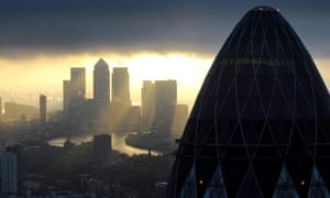 The City of London financial district, home to many of the world's major banking groups.