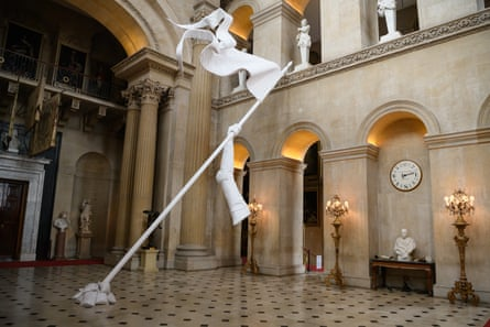 Joan of Arc's disembodied arm raised aloft in Maurizio Cattelan's We'll Never Die, 2019, at Blenheim Palace.