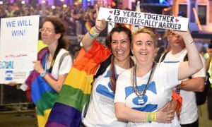 Marriage equality advocates march in Sydney's annual Gay and Lesbian Mardi Gras parade on 5 March 2016.
