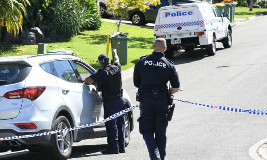 Police outside the Gold Coast house in Arundel, where Kelly Wilkinson's body was found