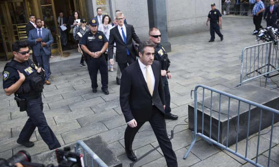Michael Cohen, former lawyer to President Donald Trump, departs following his appearance in federal court in New York on Tuesday.