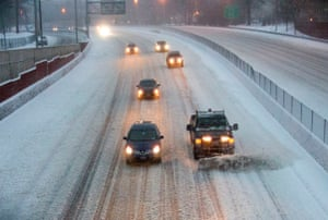 Winter storm Stella meant traffic was reduced on Interstate 95 in the Bronx, New York