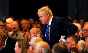 Boris Johnson at a hustings in Nottingham.