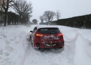 A car that had to be dug out of the snow in Southrepps, Norfolk