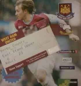 Dan's programme and ticket stub from the Derby County game