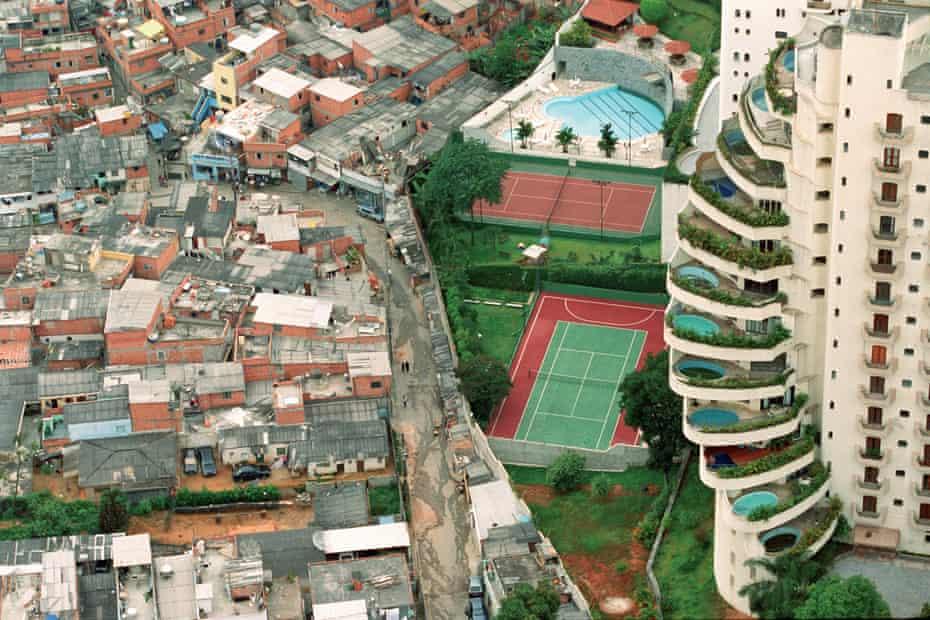 Paraisopolis, a favela in São Paulo, is shown where it meets its wealthy neighbour Morumbi.