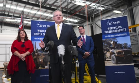 Prime minister Scott Morrison speaks to the media during a visit to Electro Optics Systems
