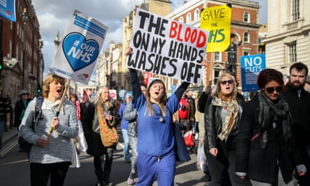 A protest against government cuts to the NHS in London, 2017.