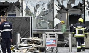 The damaged front of Brussels airport after the bombings.