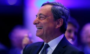 ECB president Mario Draghi attends the European Banking Congress in Frankfurt. Drgahi warned the eurozone economy is still heavily reliant on stimulus