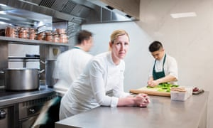 Clare Smyth in the kitchen at Core restaurant in west London.