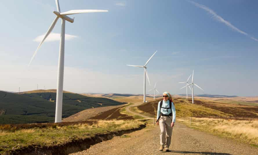 A woman walking along a trail lined with wind turbines