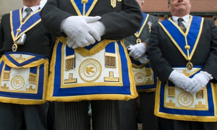 Freemasons parade at the Beamish museum, in County Durham