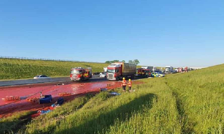 Photo of a stretch of the A14 in Cambridgeshire after a tomato puree spillage which forced it to close for emergency resurfacing.