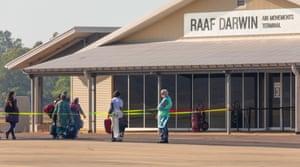 Passengers disembark a Qantas repatriation flight from India at RAAF Base Darwin on 15 May.