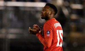 Liverpool's Daniel Sturridge applauds fans as he is substituted.