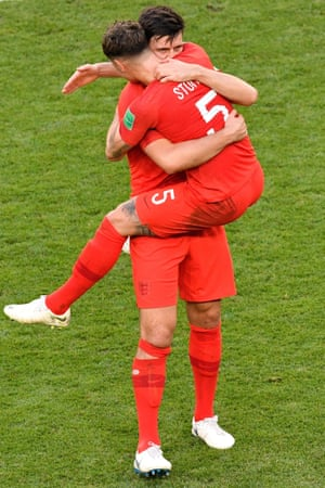 England goalscorer Harry Maguire celebrates with John Stones after the final whistle.